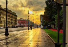 Фото рассвета на Невском проспекте в Санкт-Петербурге.